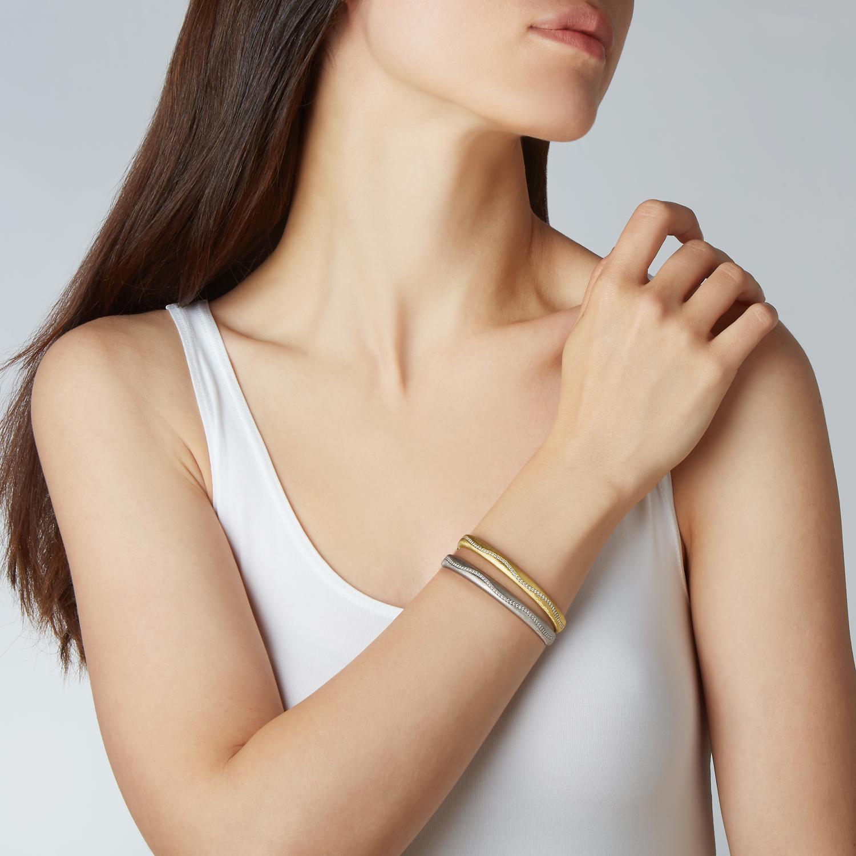 Set of 2 Wavy Diamond Bracelets